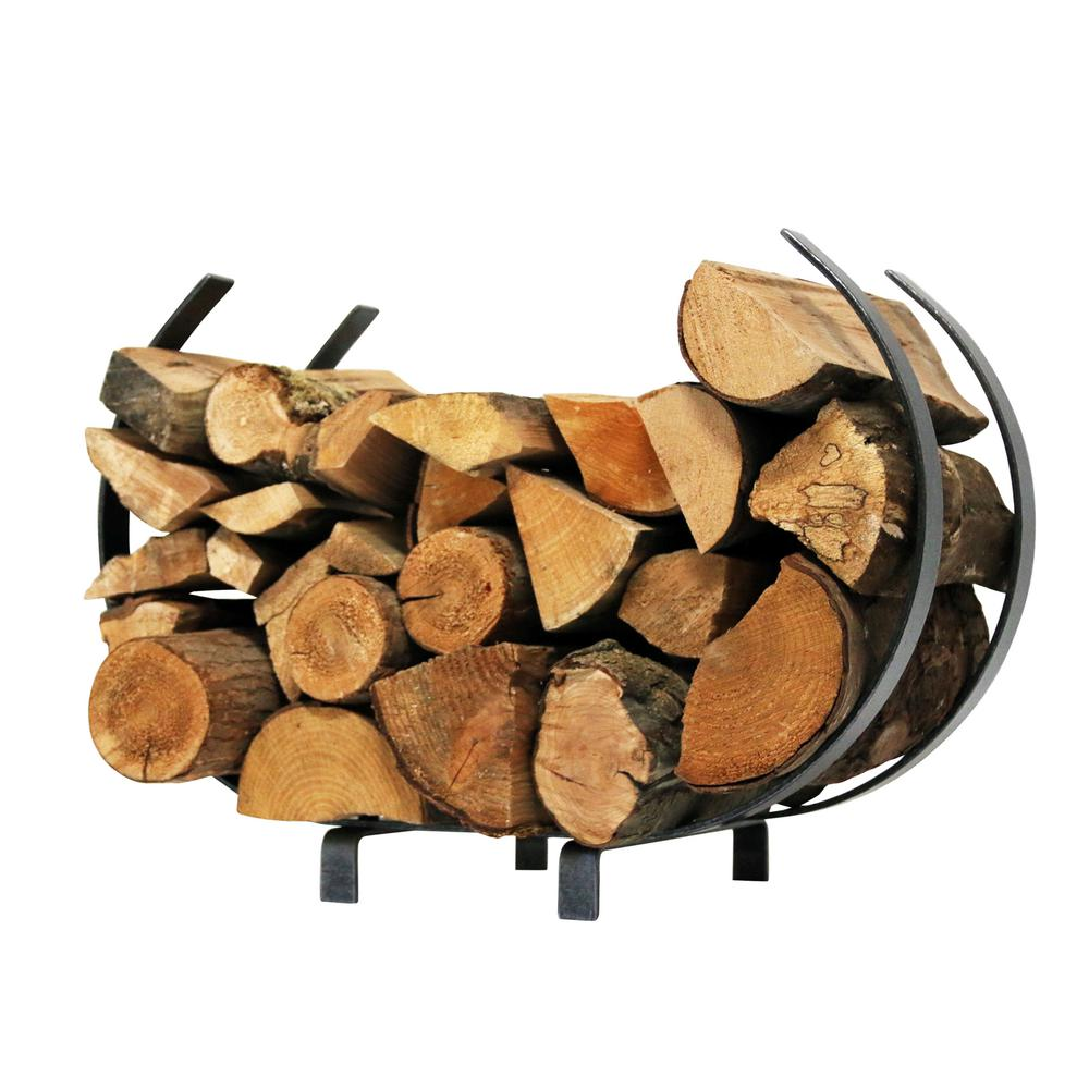 Outdoor Firewood Rack Enclume Handcrafted Indoor Outdoor Large U Shaped Firewood Rack Hammered Steel