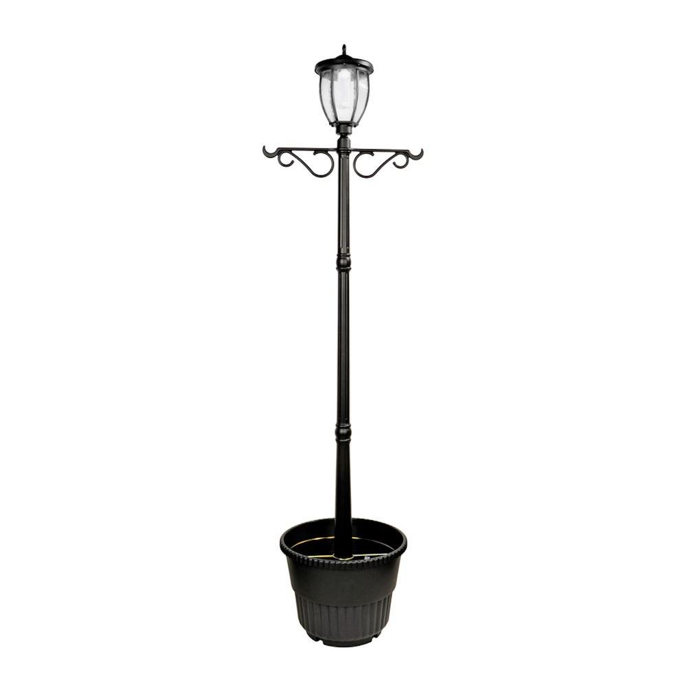 Solar Lamp Post Nature Power Solar Powered Outdoor Led Black Lamp Post With Planter