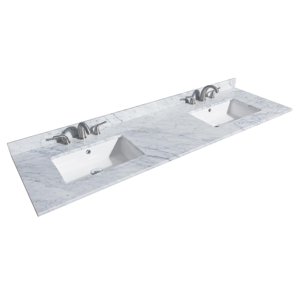 Marble Basin Wyndham Collection Deborah 72 In W X 22 In D Marble Double Basin Vanity Top In White With White Basin