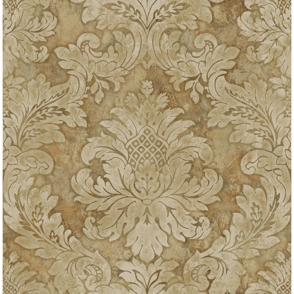 Metallic Gold Wallpaper Hampstead Metallic Gold And Beige Damask Wallpaper