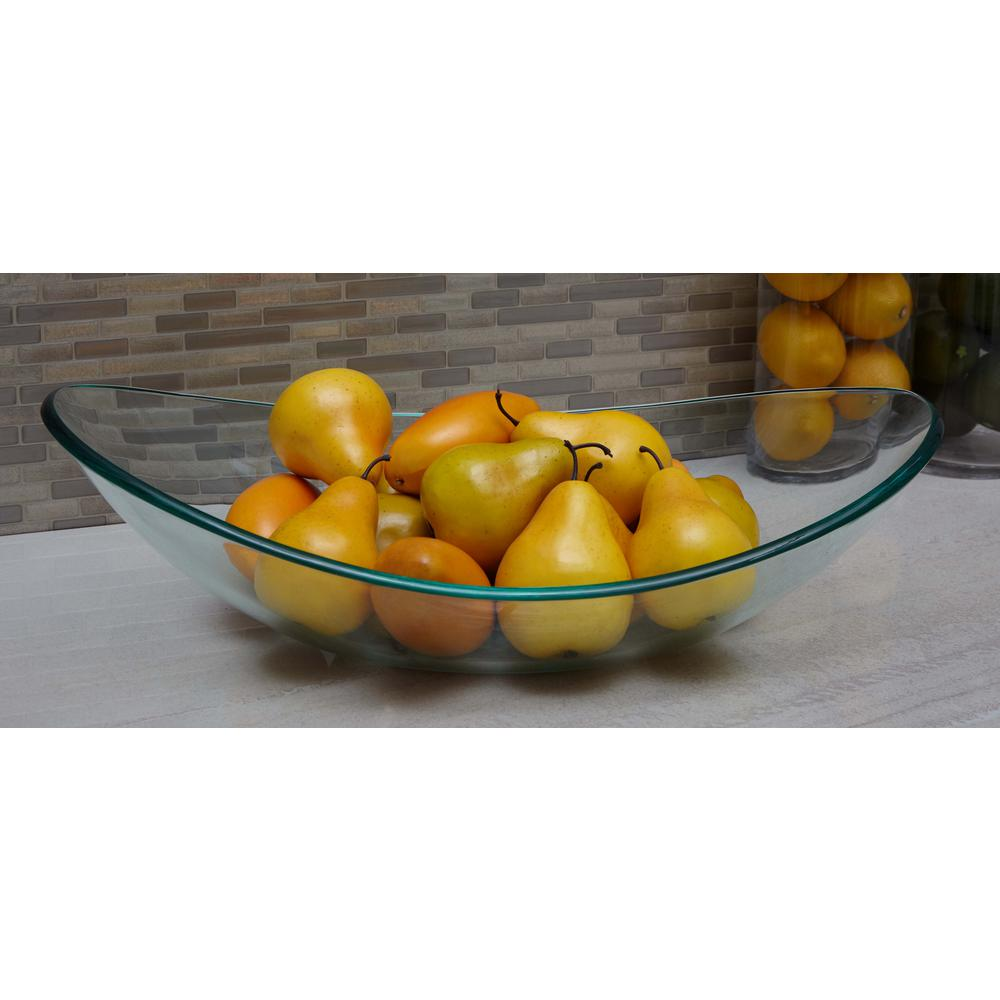 Decorative Glass Bowls 22 In Boat Shaped Clear Glass Decorative Bowl