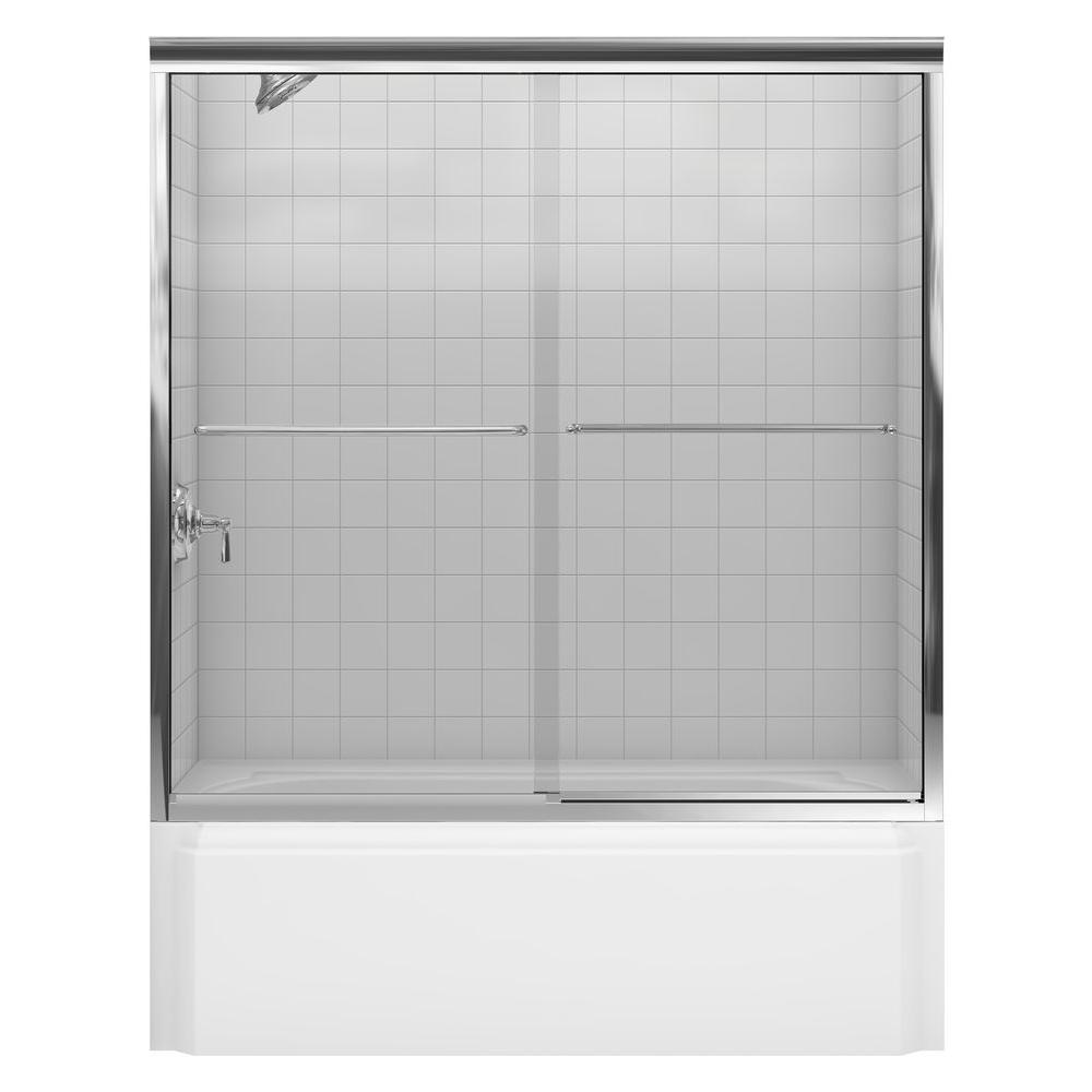 Bathroom Kohler Kohler Fluence 59 5 8 In X 58 5 16 In Semi Frameless Sliding Bathtub Door In Bright Polished Silver With Handle