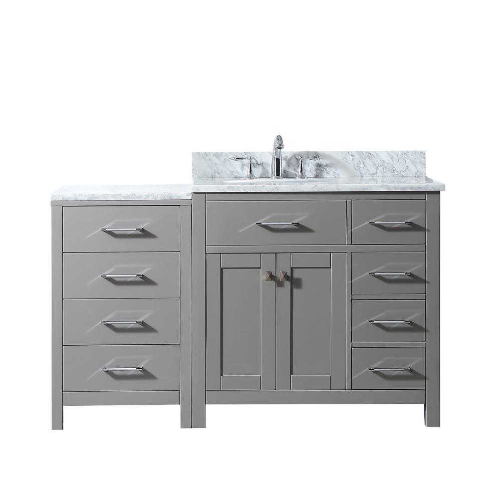 56 Bathroom Vanity Virtu Usa Caroline Parkway 56 In W Bath Vanity In Cashmere W Marble Vanity Top In White W Oval White Basin And W Faucet