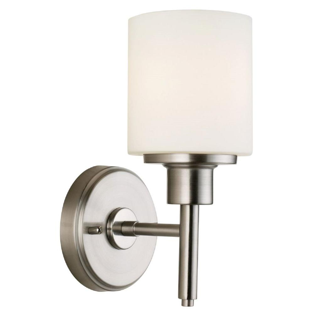 Lighting Wall Lights Design House Aubrey 1 Light Satin Nickel Indoor Wall Mount