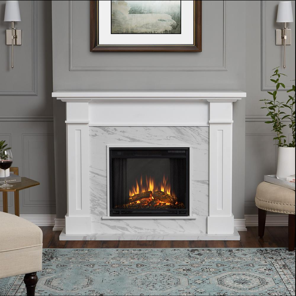Marble Fireplaces Ideas Real Flame Kipling 54 In Freestanding Electric Fireplace In White With Faux Marble