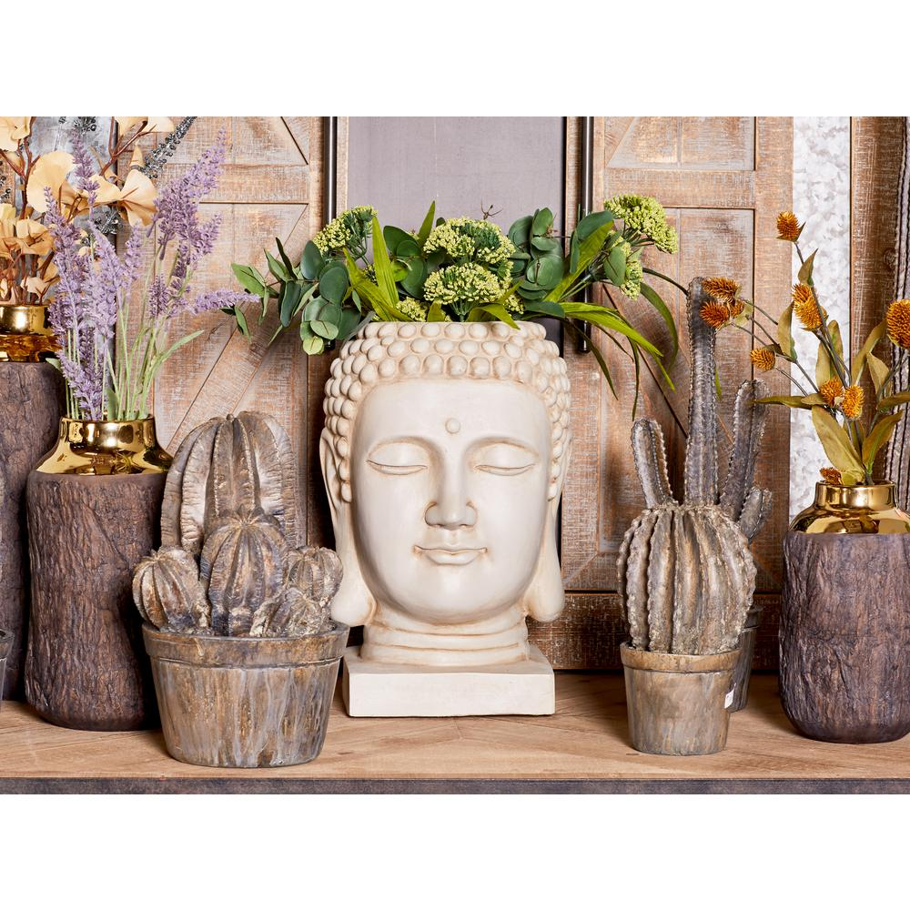 Head Planters Cosmoliving By Cosmopolitan 16 In X 9 In White Fiber Clay Buddha