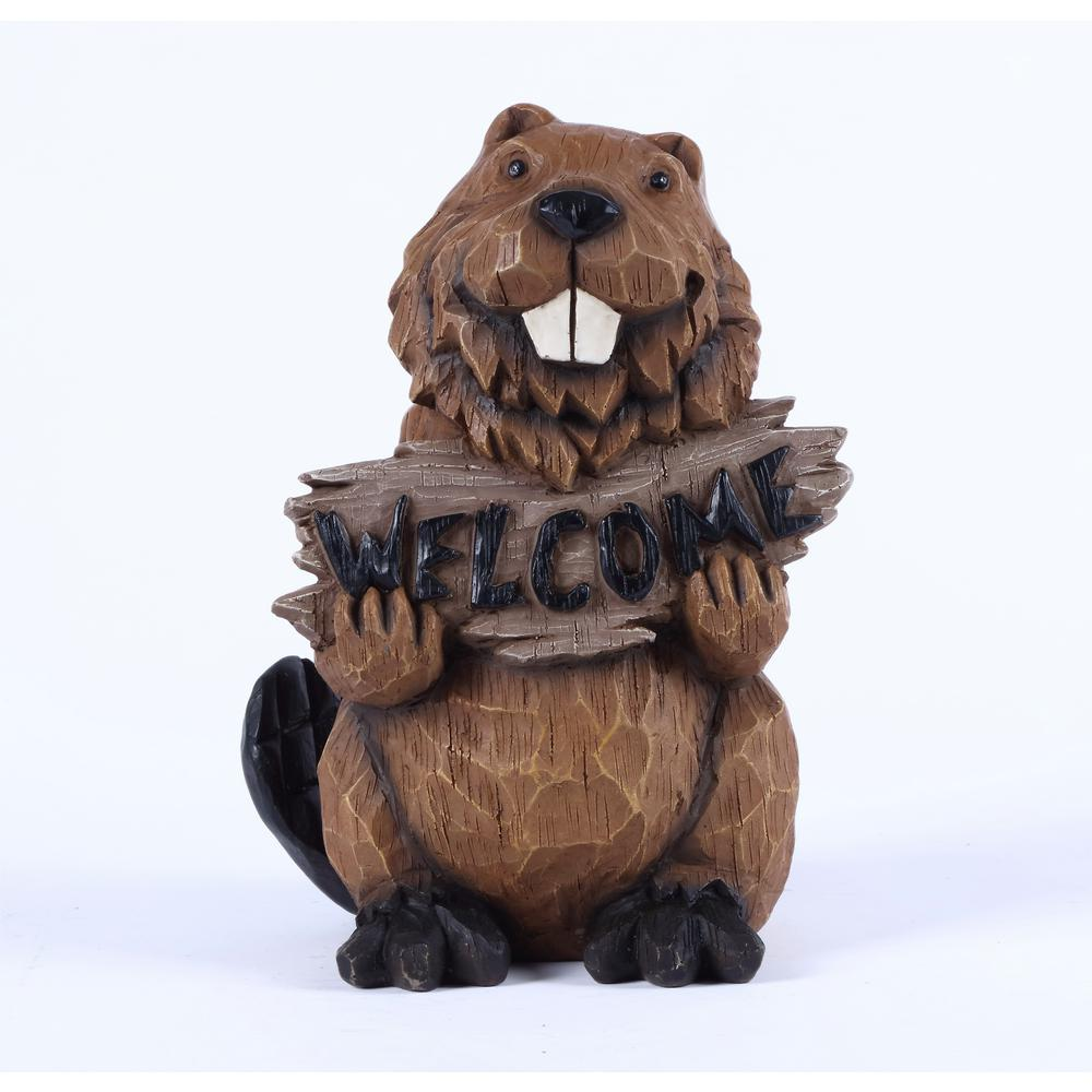 Welcome Statues Garden Hi Line Gift Beaver Holds Welcome Sign Statue