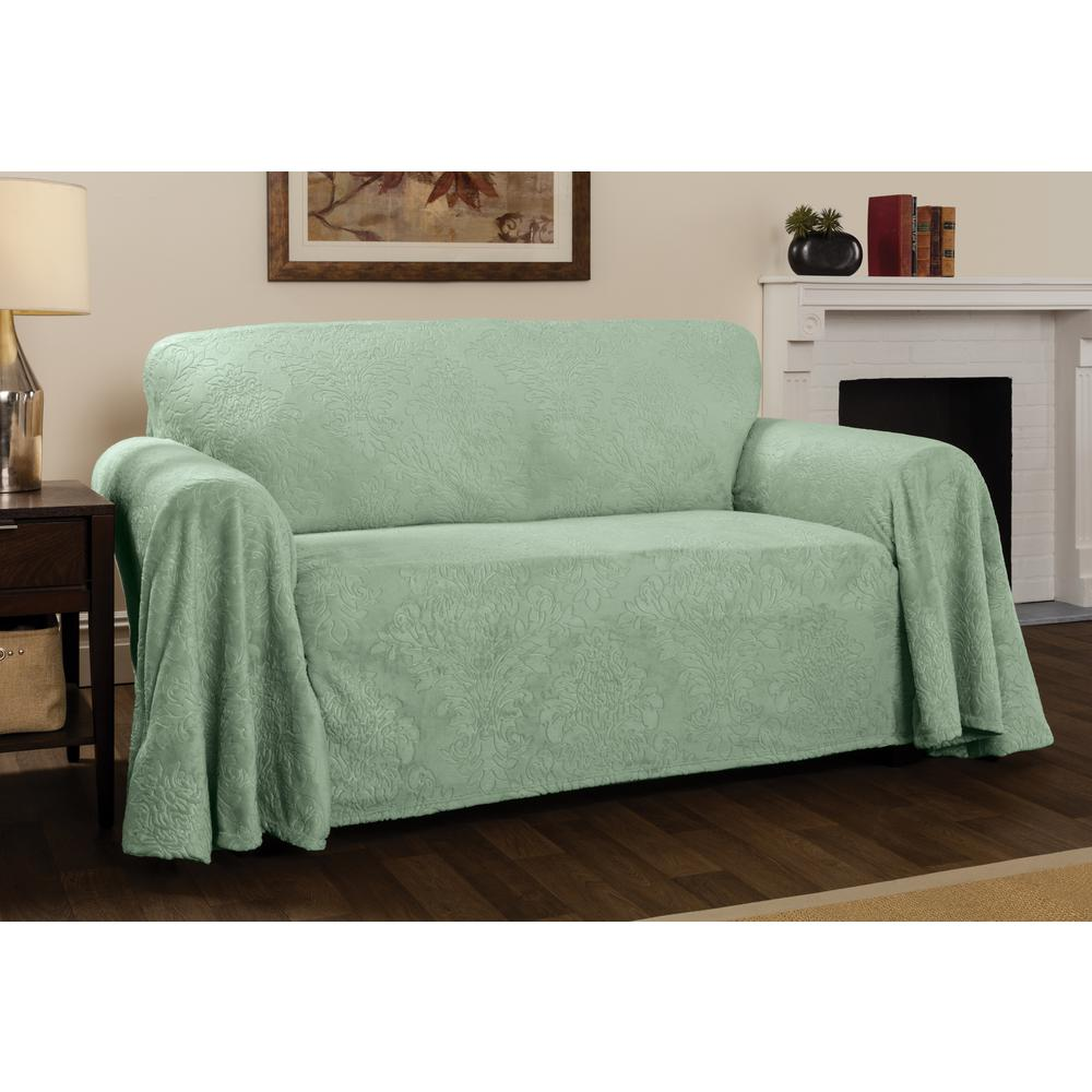 Sofa Slipcovers Plush Sage Damask Throw Sofa Slipcover