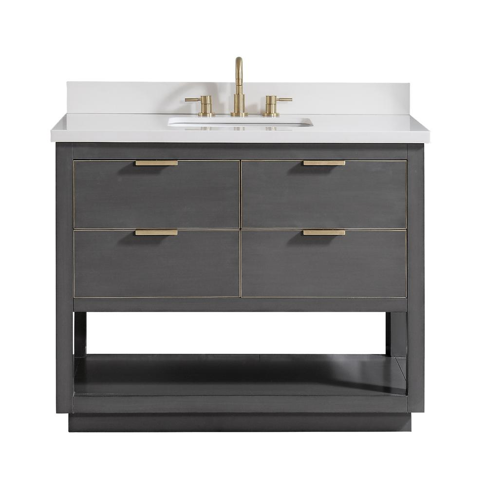 Magasin De Deco Qwartz Avanity Allie 37 In W X 22 In D Bath Vanity In Gray With Gold Trim With Quartz Vanity Top In White With Basin