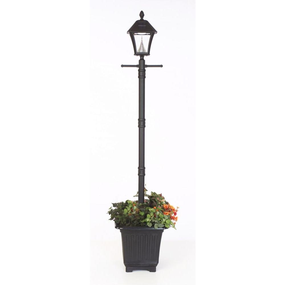 Lamp Plant Gama Sonic Baytown Solar Black Outdoor Integrated Led Freestanding Lamp Post With Planter Base