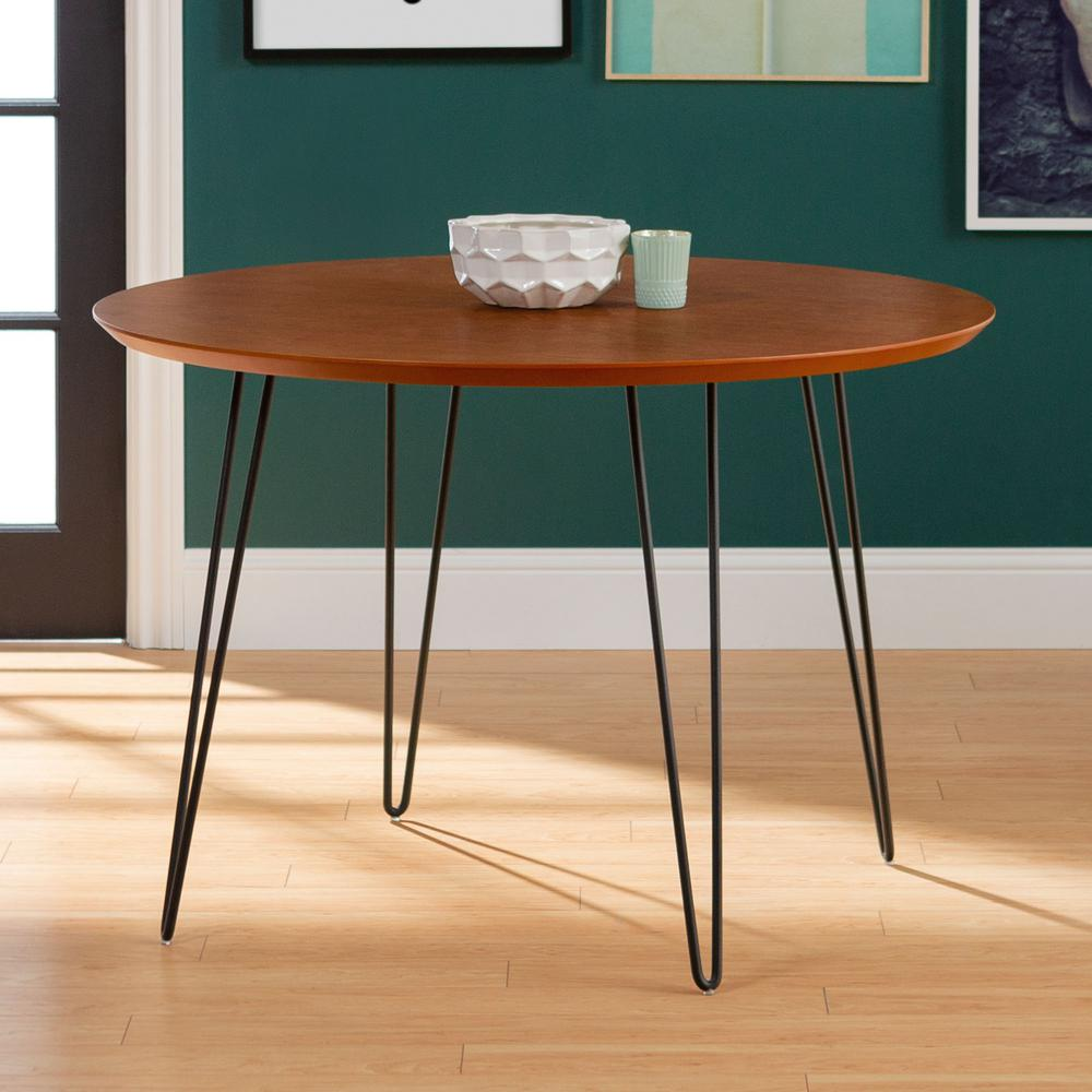 Unbranded 46 In Walnut Round Hairpin Leg Dining Table Hdw46rdhpwt The Home Depot