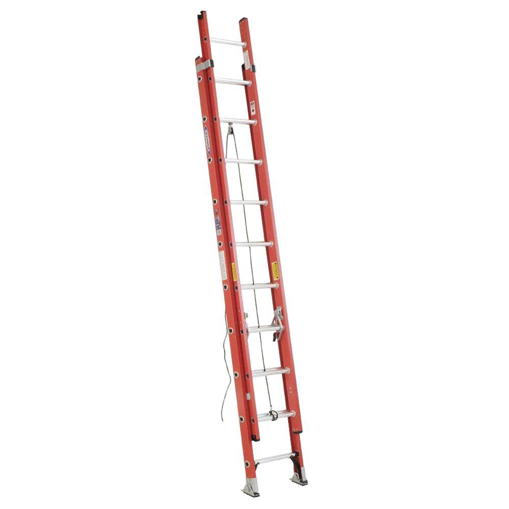 20' Ladder Home Depot Werner 20 Ft Fiberglass Extension Ladder With 300 Lbs Load Capacity Type Ia Duty Rating