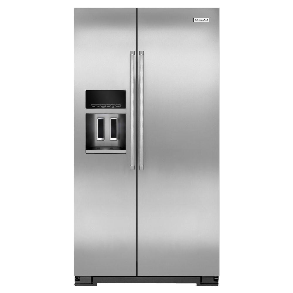 Kitchenaid Krff302ess 20 Cu Ft Side By Side Refrigerator In Monochromatic Stainless Steel With Exterior Ice And Water Counter Depth