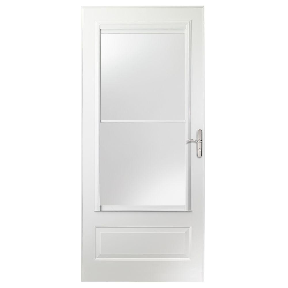 Storm Doors Edmonton Emco 32 In X 80 In 400 Series White Universal Self Storing Aluminum Storm Door With Nickel Hardware