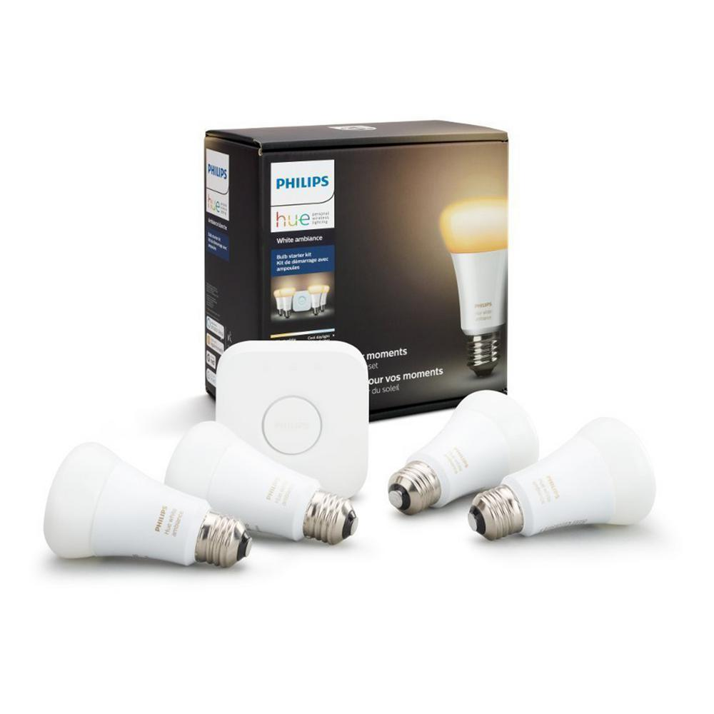 Philips Hub Philips Hue White Ambiance A19 Led 60w Equivalent Dimmable Smart Lighting Wireless Starter Kit 4 Bulbs And Bridge