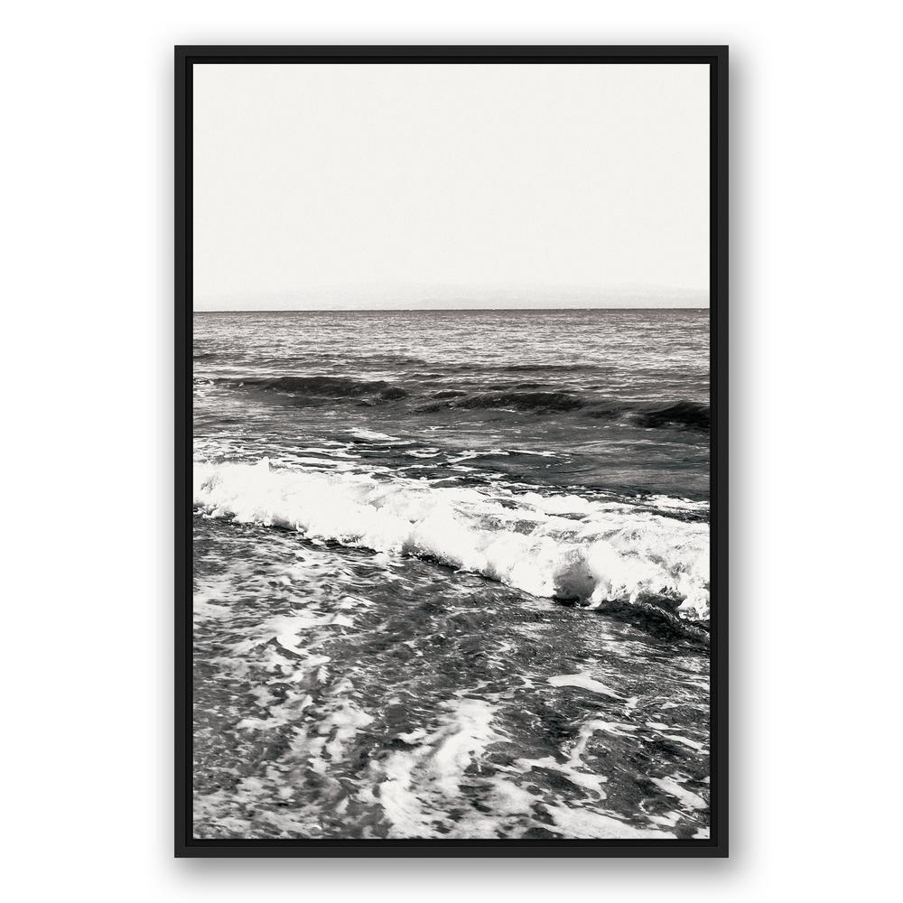 Black And White Canvas Pictures Designs Direct 24 In X 36 In Black And White Ocean Waves Printed Framed Canvas Wall Art