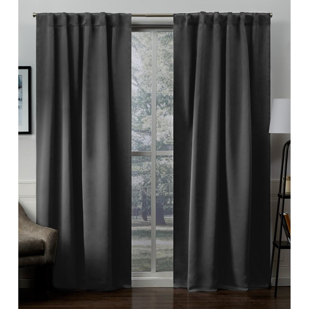 Tab Top Curtain Exclusive Home Curtains Sateen 52 In W X 84 In L Woven Blackout Hidden Tab Top Curtain Panel In Charcoal 2 Panels