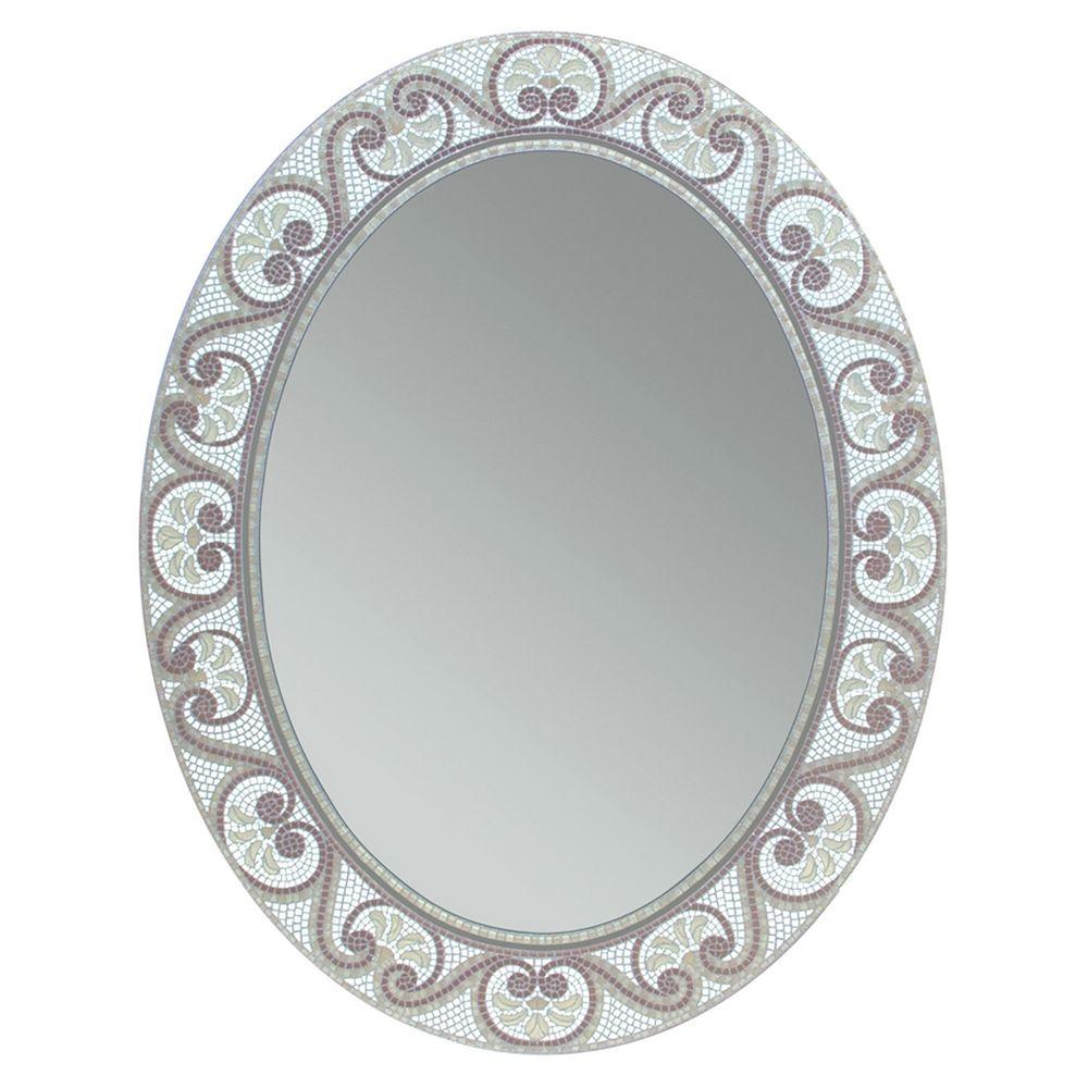 Oval Mirror Wood Frame Deco Mirror 23 In X 29 In Earthtone Mosaic Oval Mirror