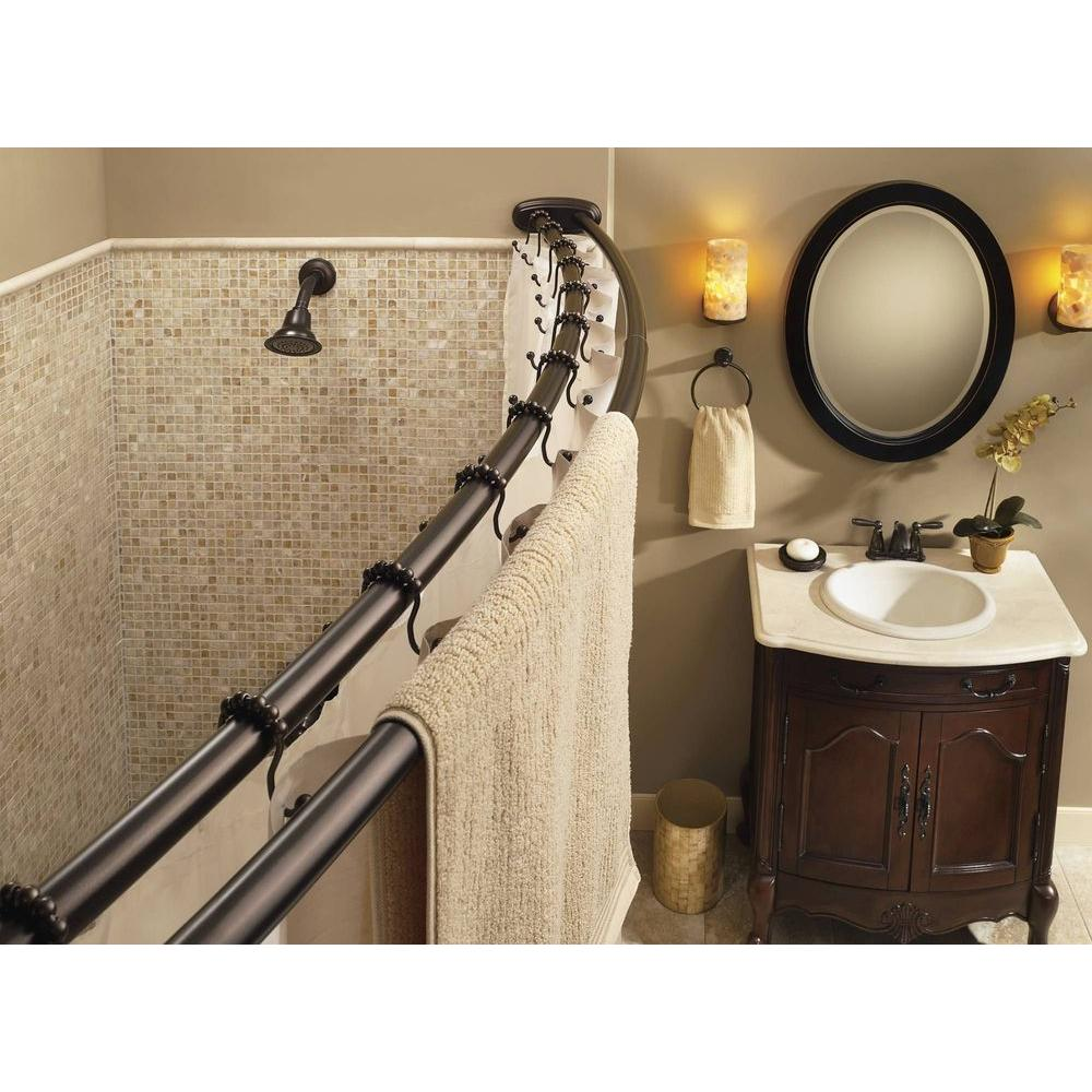 Bronze Double Shower Curtain Rod Moen Curved 57 In Adjustable Shower Rod In Old World Bronze