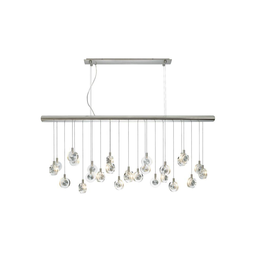 Suspension Chandelier Lbl Lighting Bling 26 Light Satin Nickel Clear Suspension Xenon Hanging Chandelier With Crystal Shade