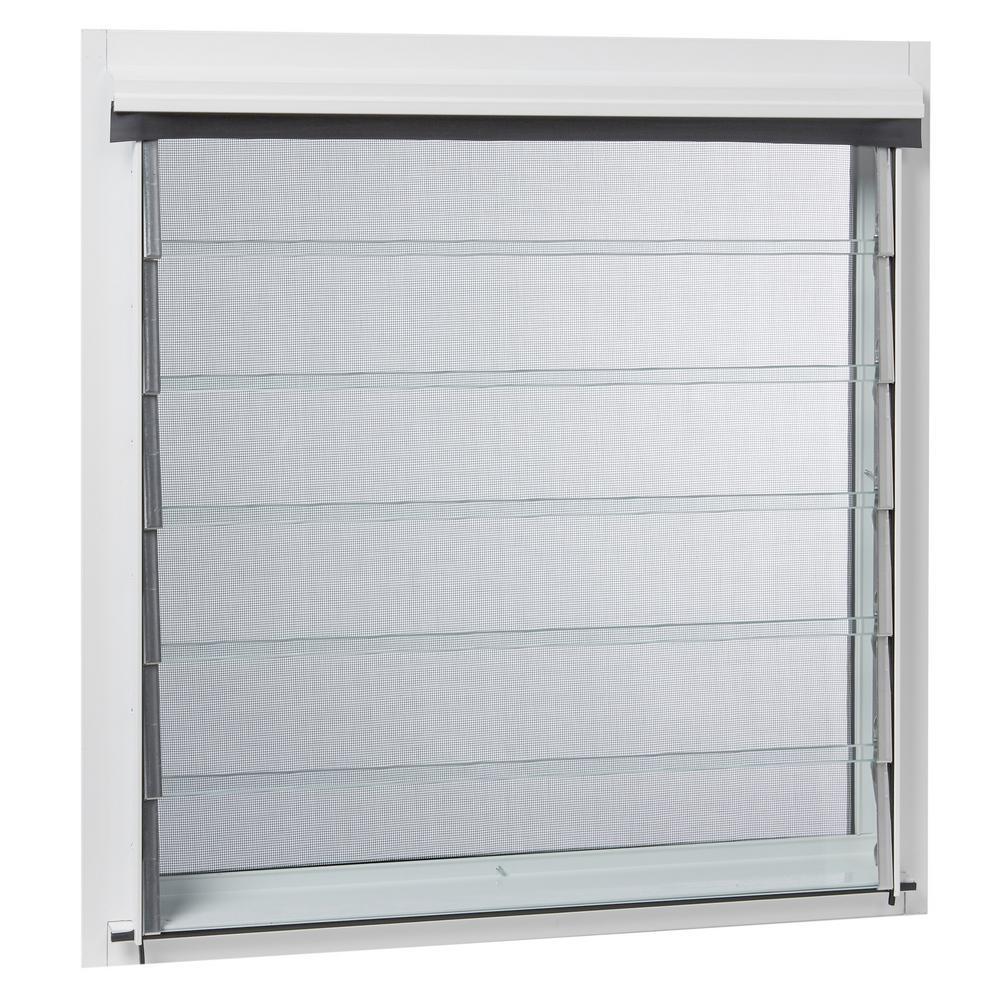 Tafco windows 24 in x 34 875 in jalousie utility louver aluminum screen window