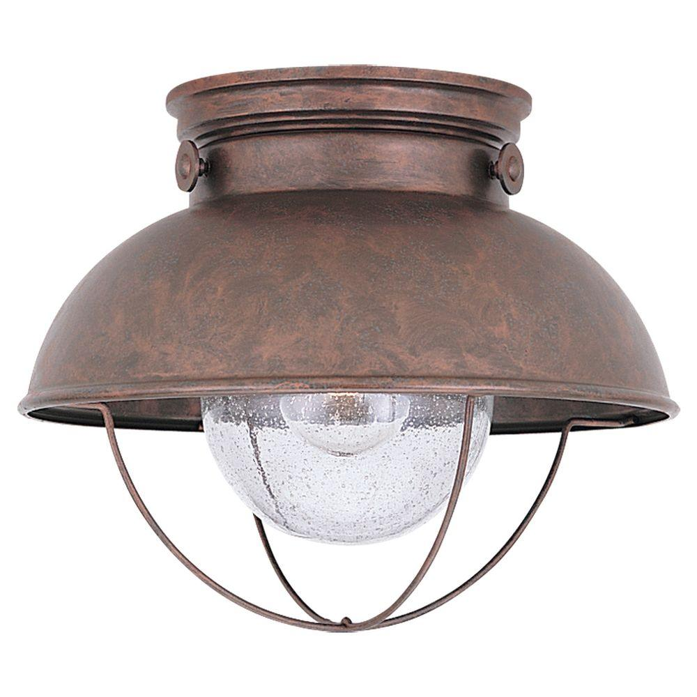 Exterior Led Light Fixtures Sea Gull Lighting Sebring 11 25 In W 1 Light Weathered Copper Outdoor Ceiling Fixture