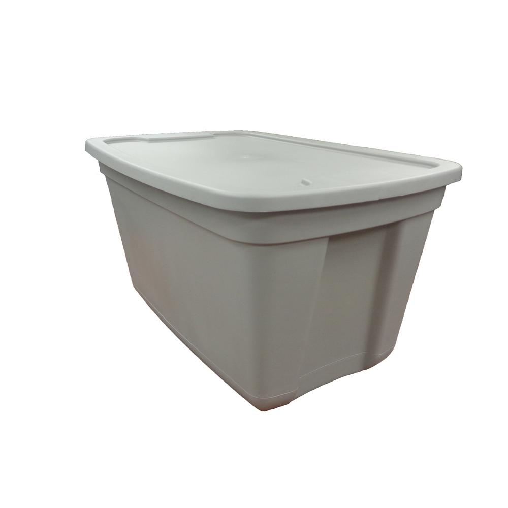 Rectangular Bin Details About 20 Gal Grey Storage Tote Plastic Container W Lid Stackable Rectangular Bin 1 Pk