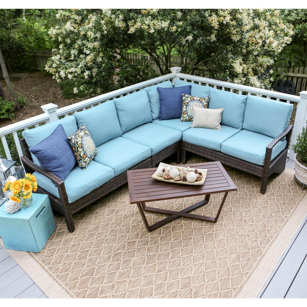 Best Choice Products 5pc Rattan Wicker Sofa Set Instructions Leisure Made Augusta 5 Piece Wicker Outdoor Sectional Set With Blue Cushions