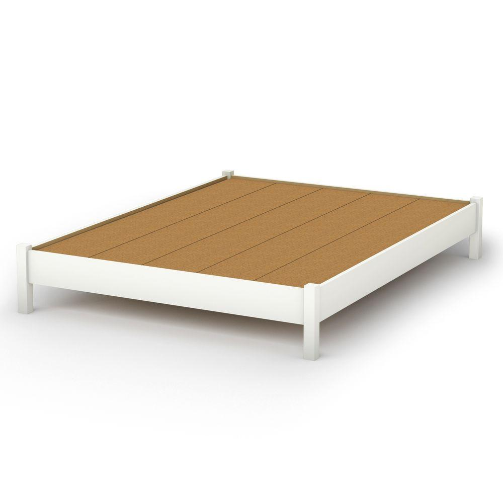 White Platform Bed Without Headboard South Shore Step One Queen Size Platform Bed In Pure White 3050203