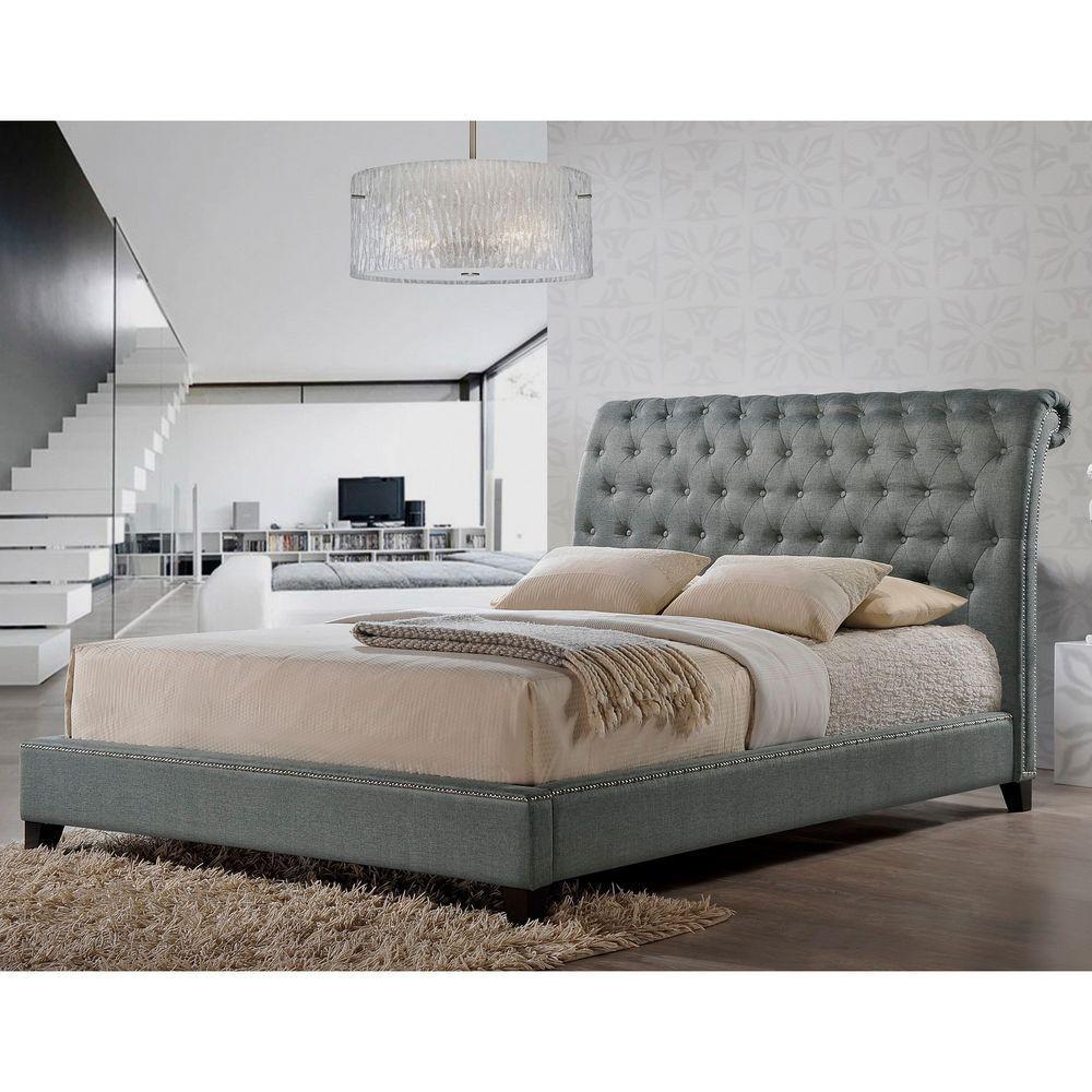 Baxton Studio Jazmin Grey Queen Upholstered Bed 28862 5207