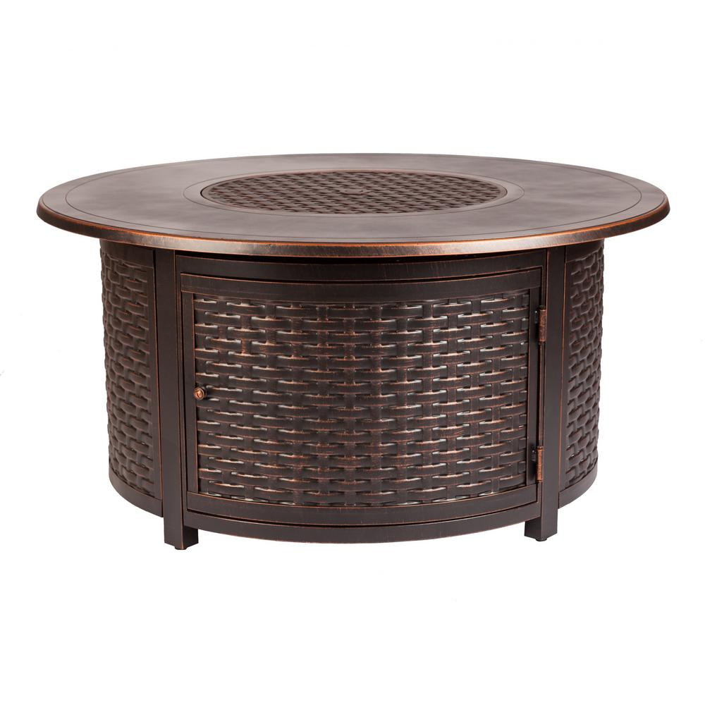 Florence Round Fire Sense Florence 47 In X 24 In Round Aluminum Propane Fire Pit Table In Antique Bronze With Vinyl Cover