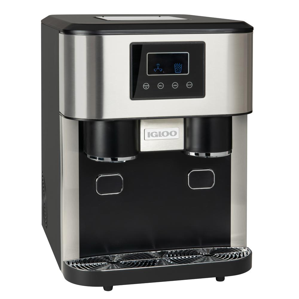 Igloo 33 Lb Portable Ice Maker And Crusher In Stainless Steel Icebds33ss The Home Depot