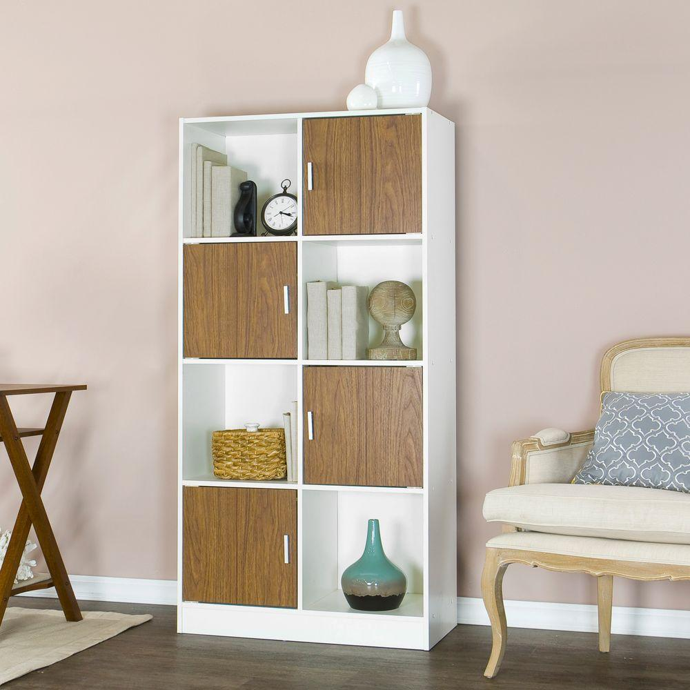 Baxton studio chateau white and brown bookcase 28862 5373 hd the home depot