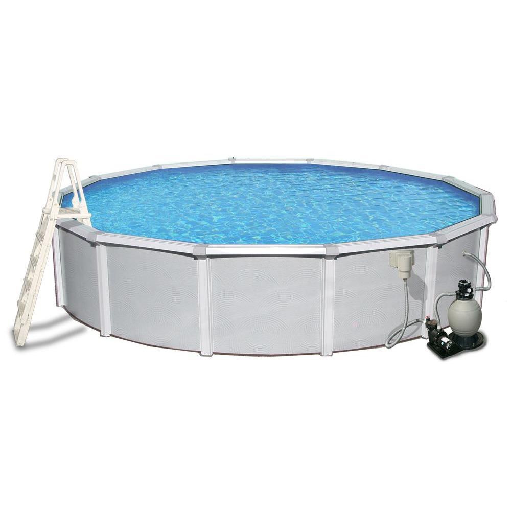 Jacuzzi Pool Top Caps Blue Wave Samoan 15 Ft Round X 52 In Deep Metal Wall Above Ground Pool Package With 8 In Top Rail