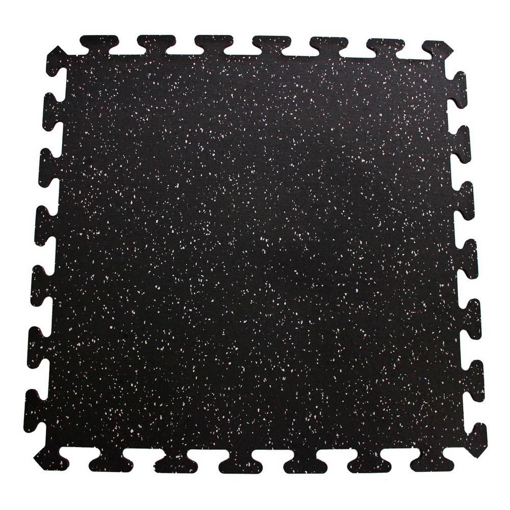 Gym Mat Flooring Black With Gray Speck 24 In X 24 In Interlocking Recycled Rubber Floor Tiles 24 Sq Ft
