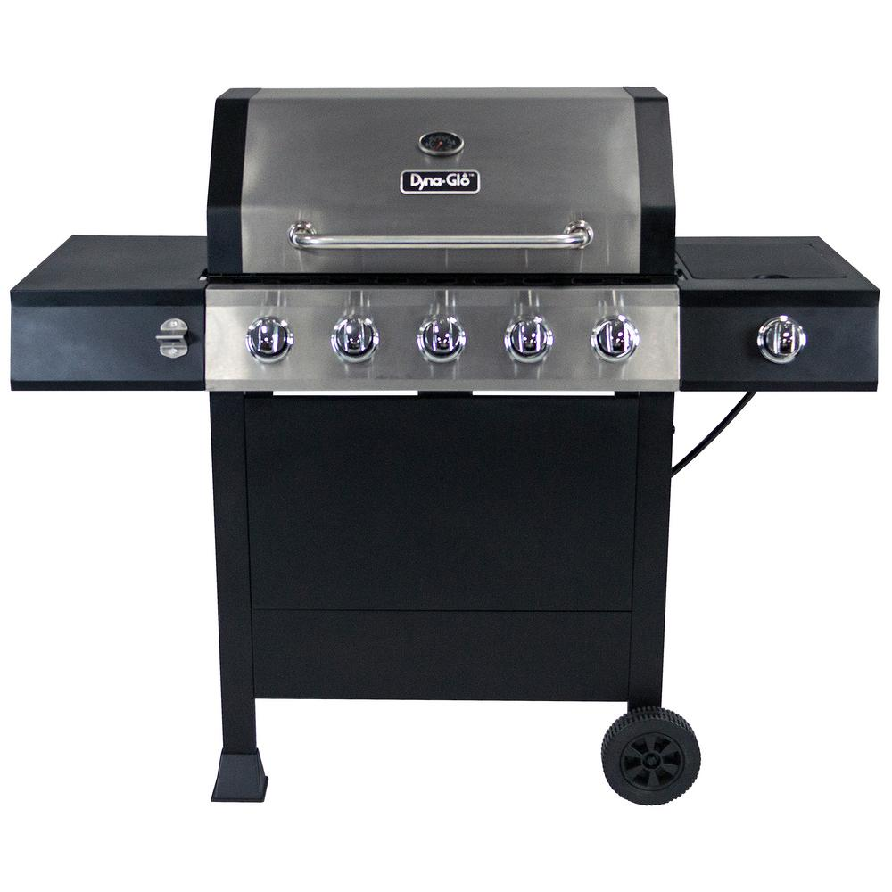 Gasgrill Seattle Dyna Glo 5 Burner Open Cart Lp Gas Grill In Stainless Steel And Black With Side Burner
