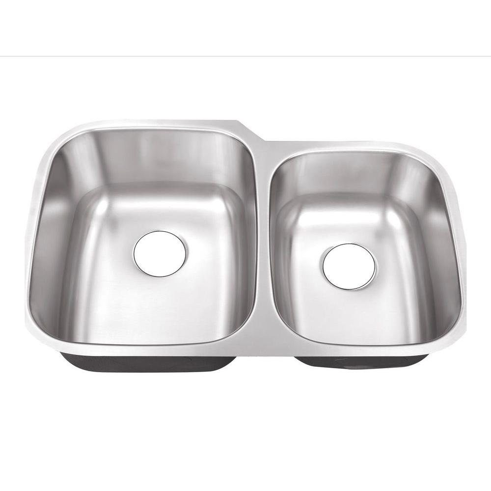 Belle Foret Farmhouse Sink Undermount Stainless Steel 32 In Hole 60 40 Double Bowl Kitchen Sink