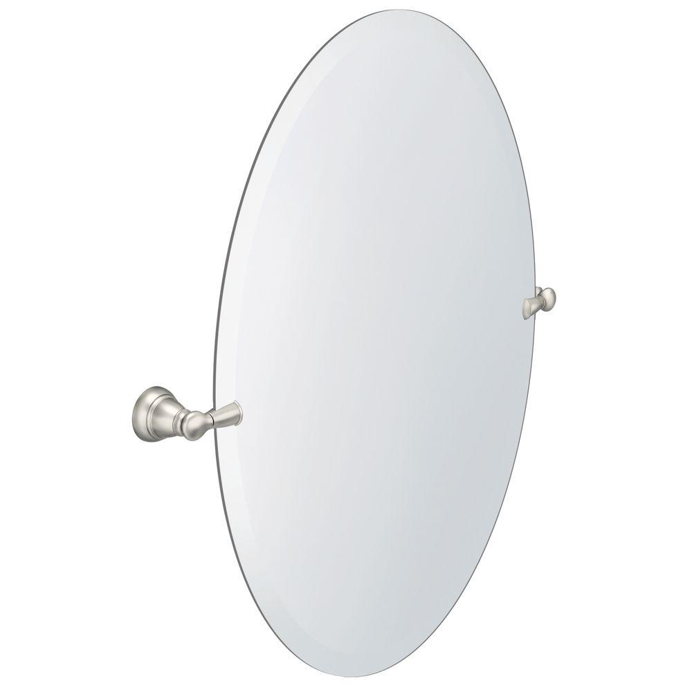 Decorative Brushed Nickel Mirror Moen Banbury 26 In X 23 In Frameless Pivoting Wall Mirror In Brushed Nickel