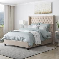 CorLiving Fairfield Cream Tufted Queen Fabric Bed with ...