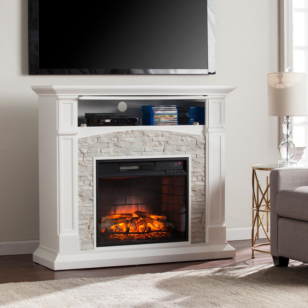 Stone Electric Fireplace Tv Stand Southern Enterprises Conway 45 75 In Infrared Electric Fireplace Tv Stand In White With White Faux Stone