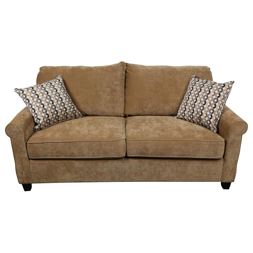 Sofa Queen Serena Khaki Plush Microfiber Queen Sleeper Sofa