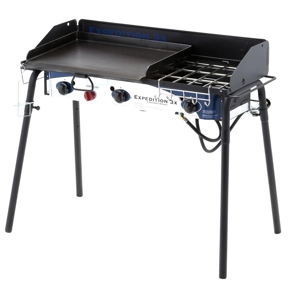 Denali Camp Stove Camp Chef Expedition 3x 3 Burner Portable Propane Gas Grill In Black With Griddle