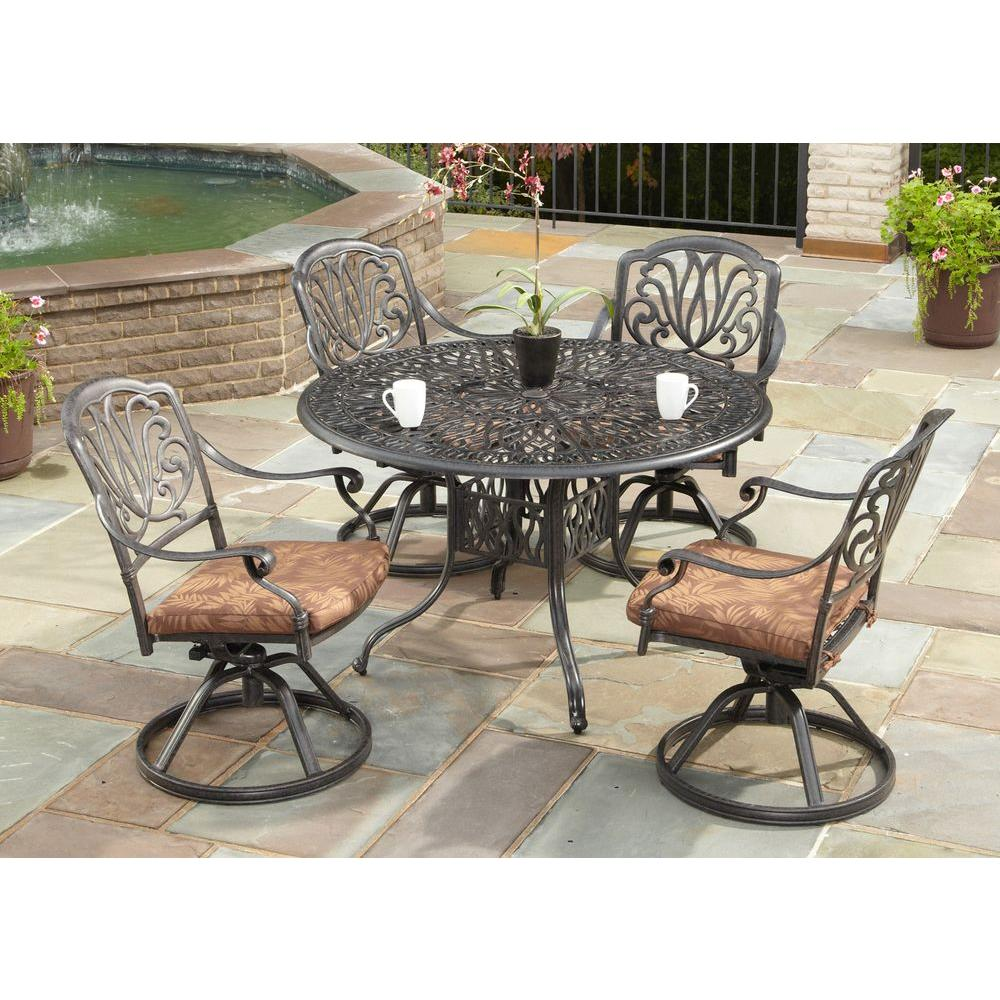 Round Patio Furniture Home Styles Floral Blossom 42 In Round 5 Piece Swivel Patio Dining Set With Burnt Sierra Leaf Cushions