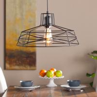 Attaway 1-Light Matte Black Wire Cage Pendant Lamp-HD88203 ...