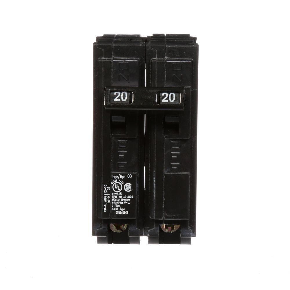 Square D 2 Pole 20 Amp Hacr Type Hom Circuit Breaker Auto Homeline 15 Singlepole Breakerhom115cp The Home Depot