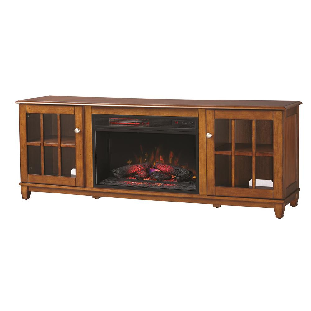 Fireplace Tv Stand Home Depot Home Decorators Collection Westcliff 66 In Lowboy Tv Stand Electric Fireplace In Chestnut