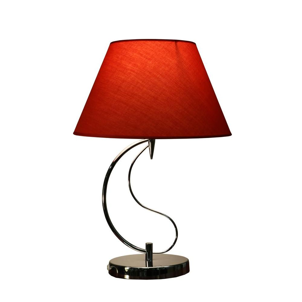 Lampe Rot Christina 20 In. Red Indoor Chrome Table Lamp With Base