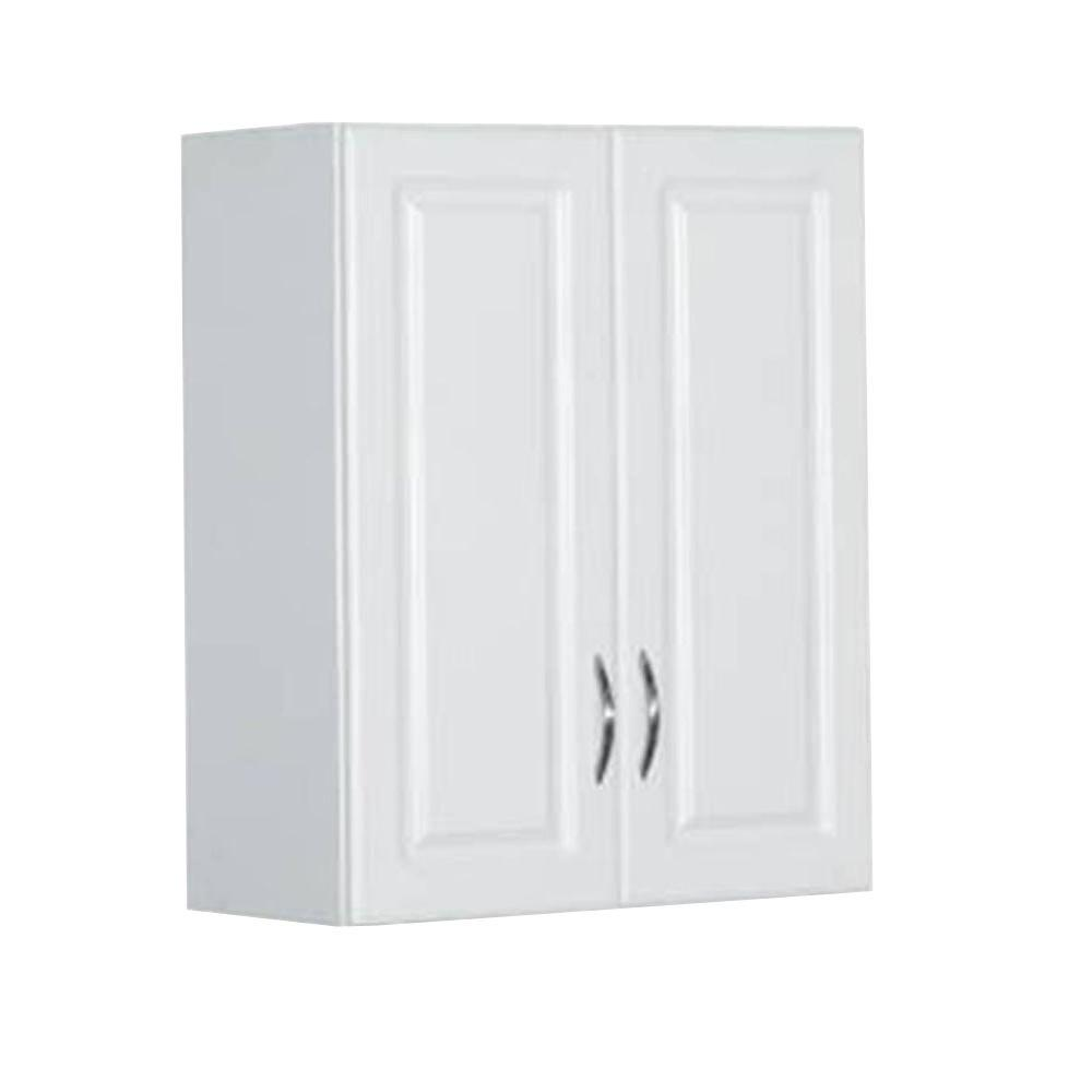Garage Utility Cabinets 30 In H X 24 In W X 12 In D White Raised Panel Wall Mounted Cabinet Storage