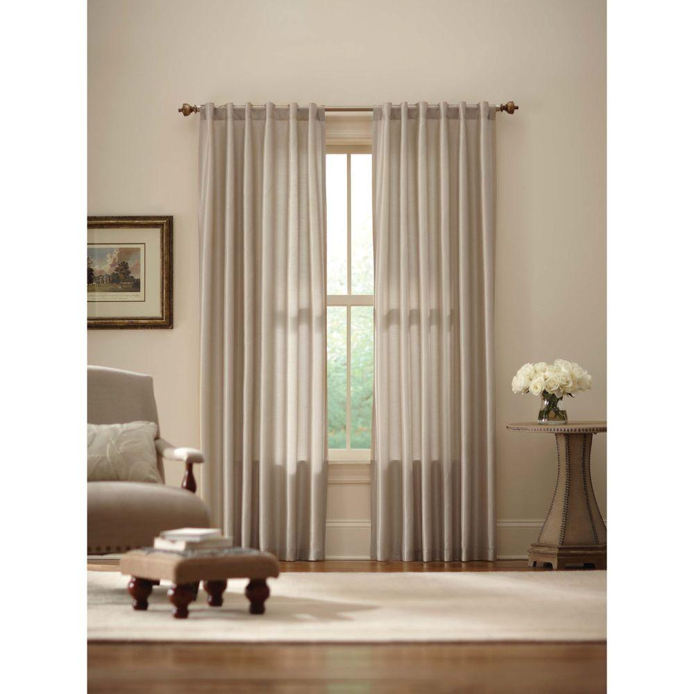 Faux Silk Curtains Home Decorators Collection Sheer Ivory Faux Silk Lined Back Tab Curtain 52 In W X 84 In L