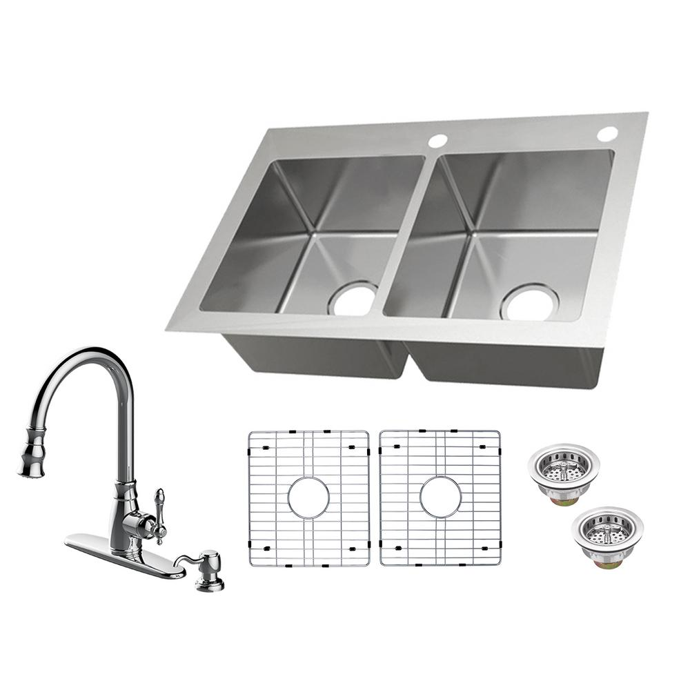 Kitchen Sink For 18 Cabinet Glacier Bay All In One Dual Mount 18 Gauge Stainless Steel 33 In 2 Hole 50 50 Double Bowl Kitchen Sink With Pull Out Kitchen Faucet